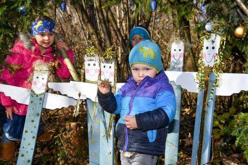 Im Weihnachtswald in St. Anton gibt es viel zu entdecken. Sofia, Ferdinand und Benedikt staunten jedenfalls nicht schlecht, was sie dort alles fanden.VN/Lerch