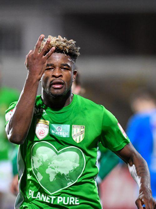 In den letzten beiden Spielen erzielte Austrias Mittelfeldmotor Brandon Baiye zwei Tore. Zeigt er an, dass er in Klagenfurt sein drittes in Folge macht?gepa