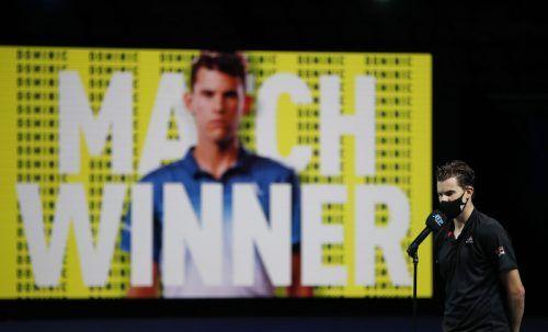 In der Neuauflage des 2019-Endspiels bei den ATP Finals setzte sich Dominic Thiem in drei Sätzen gegen Stefanos Tsitsipas durch.AFP