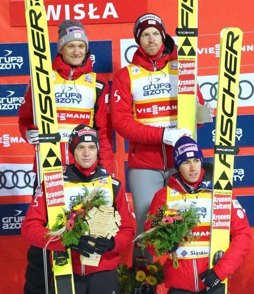 Michael Hayböck, Philipp Aschenwald (h.), Daniel Huber und Stefan Kraft.GEPA