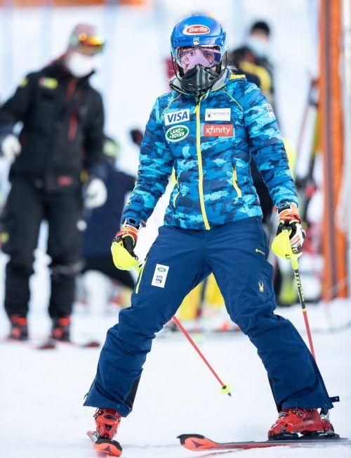 Mikaela Shiffrin startet ihr Comeback in Levi mit der Startnummer eins.gepa