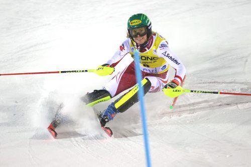 Nach der Premiere 2019 in Flachgau und und Zagreb im letzten Winter jubelte Katharina Liensberger in Levi über ihren dritten und vierten Top-3-Rang im Slalom-Weltcup. GEPA