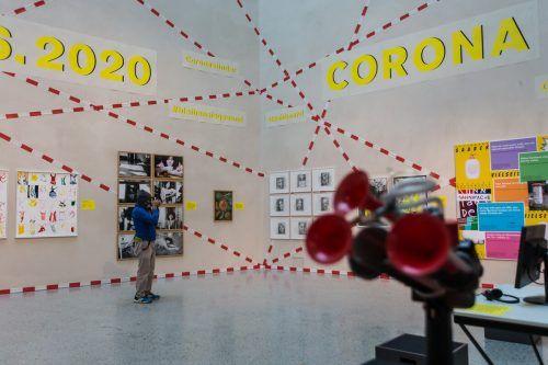 Nun wieder im Lockdown und geschlossen: Corona-Ausstellung im Vorarlberg Museum in Bregenz mit der Abstandtröte. VN/PS