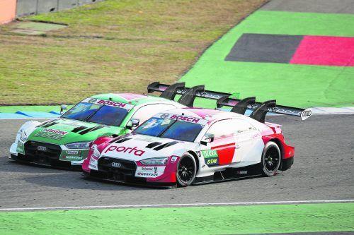 Rene Rast (vorne) entschied ein spannendes Duell gegen Nico Müller für sich, holte sich den insgesamt dritten Titel in der DTM.gepa, Audi