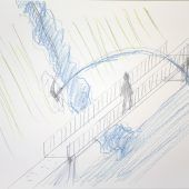 """<p class=""""caption"""">Skizze des bekannten Schweizer Künstlers Roman Signer zur Wasserskulptur auf der Bielerhöhe.  KUB/signer, KUZMANOVIC</p>"""