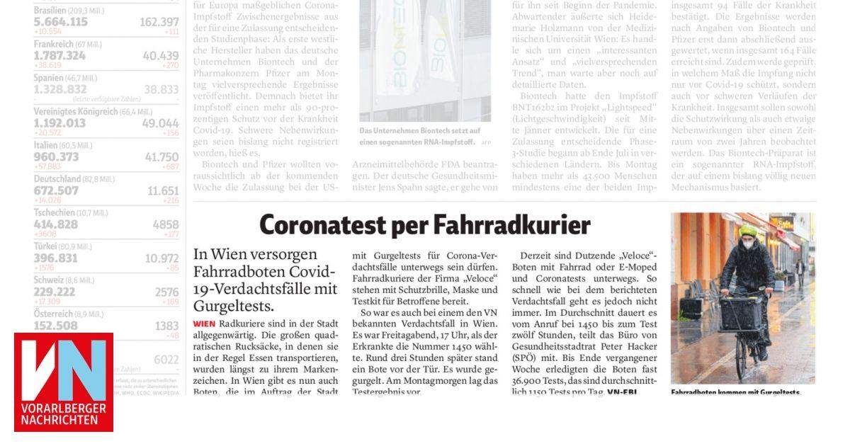 Coronatest per Fahrradkurier Vorarlberger Nachrichten | VN.at