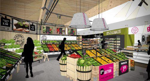 So präsentiert sich ab morgen die neu gestaltete Obst- und Gemüseabteilung des Sutterlütymarkts in Ludesch.Sutterlüty