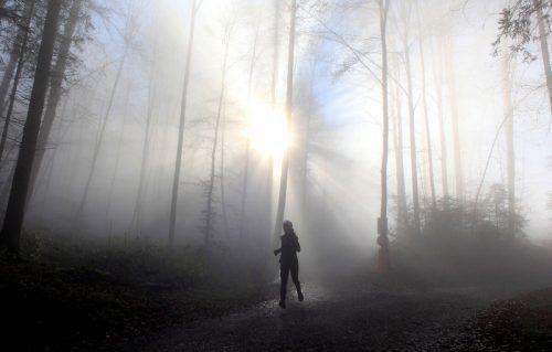 Sonnenstrahlen im Nebel: Eine Frau genießt während einer Laufrunde in Zürich das herbstliche Wetter. AFP