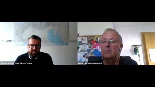 Verkehrsplaner Jörg Zimmermann (l.) und VN-Redakteur Klaus Hämmerle im digitalen VN-Stammtisch. Es ging um die S 18. vn.at
