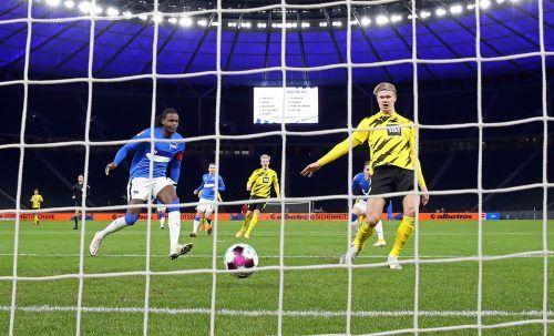 Viermal war er gegen Hertha BSC erfolgreich: Erling Haaland mit seinen Saisontreffern sieben, acht, neun und zehn.GEPA