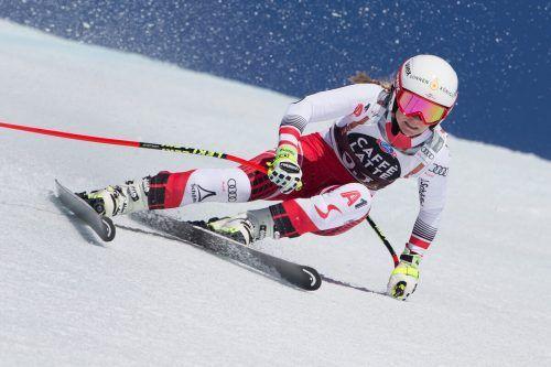 Ariane Rädler kennt das Gelände in St. Moritz, 2015 bestritt sie ein Abfahrtstraining und klassierte sich auf Rang 15.???