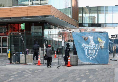Das Rogers Place, Heimstätte der Edmonton Oilers und Schauplatz der Unter-20-WM, wird für das Turnier vorbereitet. ap