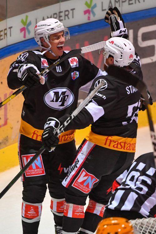Das VEU-Powerduo: Jakob Stukel (l.) und Dylan Stanley.VN/Stiplovsek