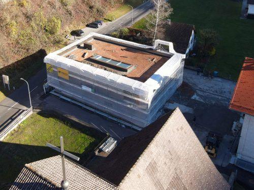 Der Rohbau der Bingser Zwergenvilla ist fertiggestellt. VN/Lerch