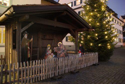 Die Rankweiler Freiluft-Krippe wurde in diesem Jahr auf dem Marktplatz aufgebaut.Marktgemeinde/Pfarre