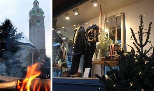 Feuerschalen zum Aufwärmen und ein großer Christbaum auf dem Dorfplatz, liebevoll dekorierte Schaufenster - witus hat den goldenen Sonntag in Bezau und Mellau bestens vorbereitet. stp