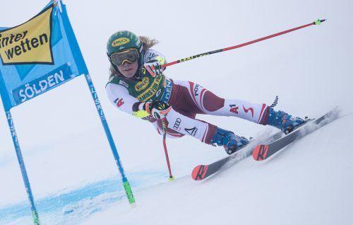 Für Katharina Liensberger sollen in Courchevel die ersten Punkte im Riesentorlauf her, beim Saisonauftakt in Sölden war sie im zweiten Lauf ausgeschieden.gepa