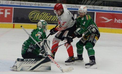 Goalie Felix Beck und Panu Hyyppä zählten gegen Jesenice zu den Stützen.siha