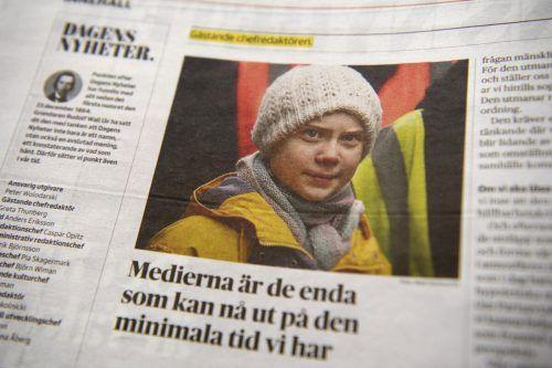 Greta Thunberg war auch auf der Titelseite der schwedischen Zeitung abgebildet. AP