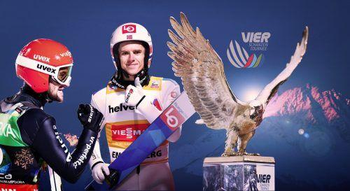 Halvor Egner Granerud (r.) gehört nach einer starken bisherigen Saison wie Markus Eisenbichler zum Kreis der Topfavoriten für die startende Tournee.GEPA