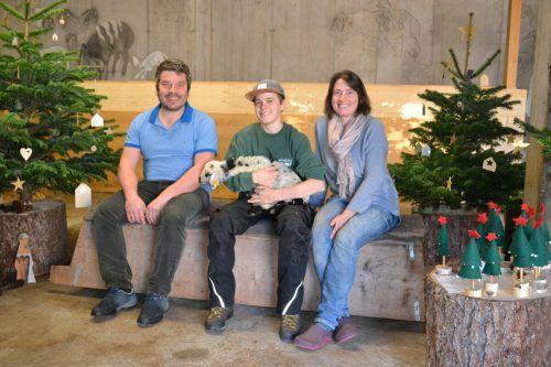 Harald Bitschnau, Julian Erhart und Doris Bitschnau sorgten auf ihrem Hof für weihnachtliche Vorfreude aufs Christkind.BI