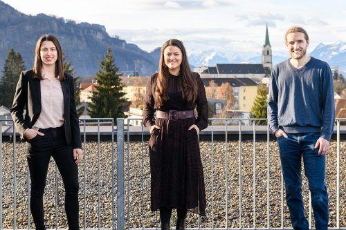 """Julia Grahammer, Verena Eugster und Tim Mittelberger starten zuversichtlich ins neue Jahr. """"Wir wollen arbeiten und die Zukunft gestalten."""" M.Rhomberg"""
