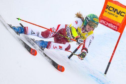 Katharina Liensberger fuhr in Courchevel mit Rang sechs zu ihrem zweitbesten Riesentorlaufresultat im Weltcup.gepa
