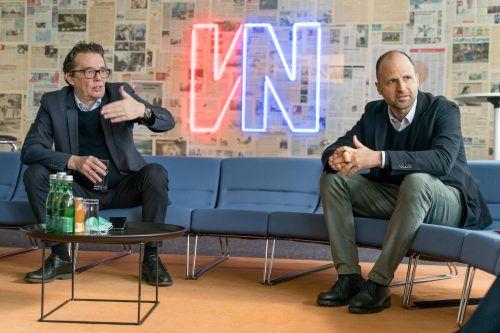 """Landesrat Marco Tittler und WKV-Präsident Hans Peter Metzler: """"Wichtig ist es nun auch, an der Stimmung zu arbeiten und Zuversicht zu verbreiten."""" VN/Stiplovsek"""