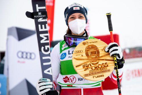 Nach drei zweiten und sechs dritten Plätzen triumphierte Katrin Ofner in Val Thorens. GEPA