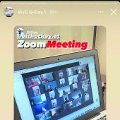 """<p class=""""caption"""">Österreichs Nationalteamspieler beim Zoom-Meeting.ÖEHV</p>"""