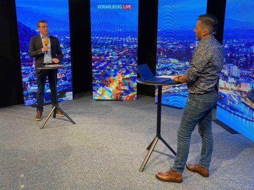 Studiogast und Altachs Bürgermeister Markus Giesinger ist wenig begeistert von der Online-Verhandlung zum Schredderausbau. VN/RaucH
