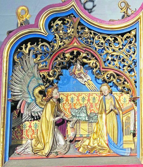 Verkündigung: Detail aus dem Gnadenaltar der Mehrerau aus der Ulmer Schule um 1495.TM