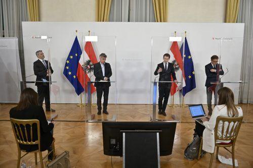 Von links: Minister Nehammer (Inneres), Vizekanzler Kogler (Sport, Kultur), Kanzler Kurz und Minister Anschober (Gesundheit) verkündeten einen weiteren Lockdown.APA