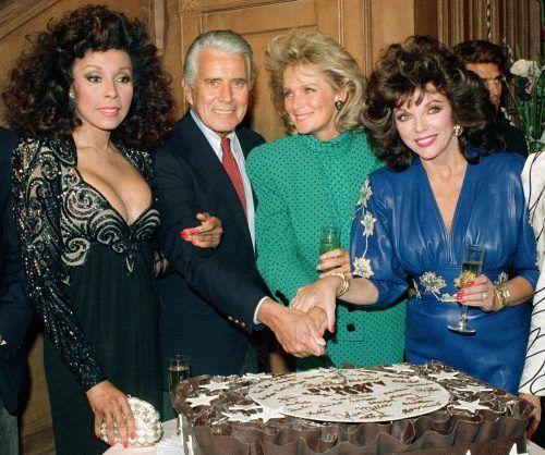 Archivbild aus dem Jahre 1986: Diahann Carroll, John Forsythe, Linda Evans and Joan Collins lockten als Denver Clan die Massen vor den Fernseher. ap