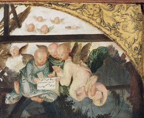 Ausschnitt aus der Geburtsszene auf dem Annenaltar.