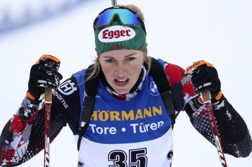 Biathletin Lisa Hauser liefert verlässlich Ergebnisse ab, wurde in Oberhof wieder Dritte.ap