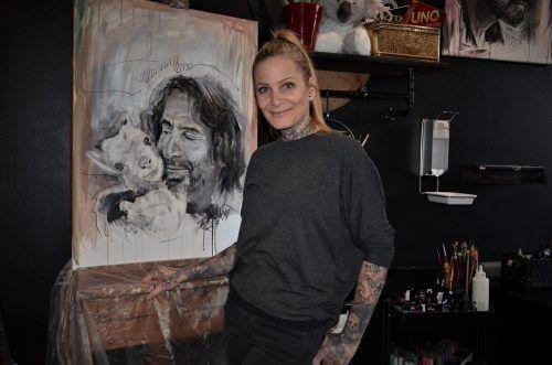 Das Bild, das Bianca Fetzel gemalt hat, stellt Joe Fritsche dar. HRJ