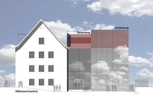 Die neue LBS Dornbirn 2 nach der Fertigstellung. Walser Werle Architekten ZZ