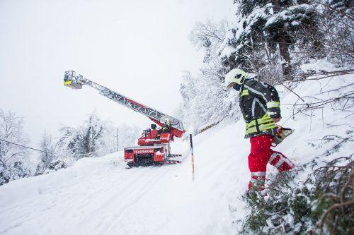 Die Straße nach Göfis musste von der Feuerwehr wieder befahrbar gemacht werden. VN/Steurer