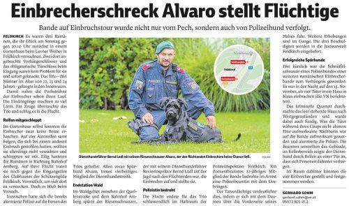 Die VN berichteten Ende November, wie Alvaro die Einbrecher stellte.