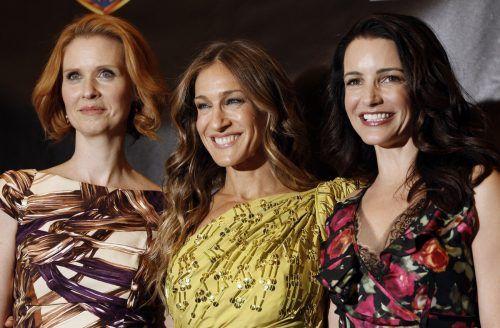 Diesmal zu dritt: Sarah Jessica Parker (Mitte), Cynthia Nixon (l.) und Kristin Davis drehen wieder.ap