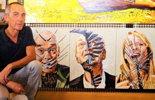 Edgar Leissing präsentiert im Atelier seine Werke.YAS/3