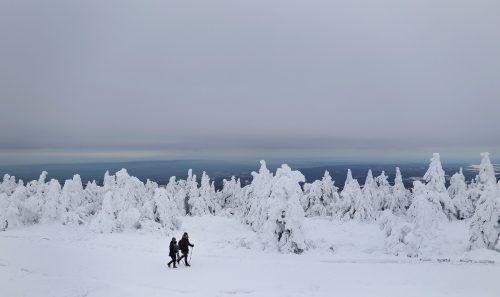 Ein Paar wandert durch den Schnee auf den Brocken, den höchsten Punkt im Harz, in der Nähe von Schierke in Mitteldeutschland. AFP