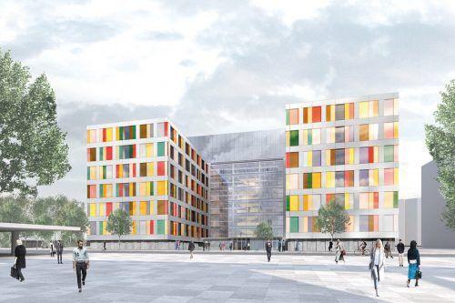 Der deutsche Bundestag braucht dringend Platz. Im neuen Bürogebäude entstehen Hunderte Büros für die Abgeordneten und ihre Mitarbeiter.Sauerbruch Hutton