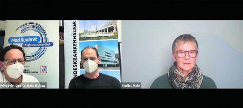 Primar René El Attal (l.) und Oberarzt Michael Vonmetz vom LKH Feldkirch informierten, moderiert von VN-Redakteurin Marlies Mohr, über die häufigsten Schulterverletzungen. vn
