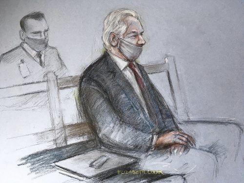 Gerichtsskizze von Assange. Cook/AP