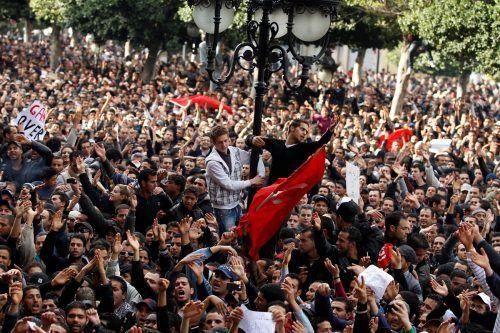 In Tunesien nahmen die Proteste ihren Ausgang, die Demonstrationen (im Bild: 2011) waren gegen den damaligen PräsidentenBen Ali gerichtet.REUTERS