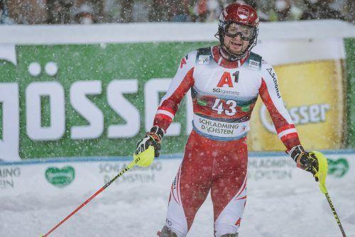 Johannes Strolz ergatterte zum dritten Mal in dieser Saison Slalompunkte im Weltcup.gepa