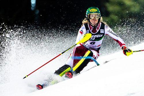 Katharina Liensberger fuhr beim Slalom am Bärenberg in Zagreb wie schon am Semmering auf den zweiten Rang und landete auch beim vierten Saisonslalom auf dem Podest. gepa/AP