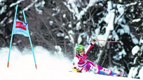Katharina Liensberger geht nach den enttäuschenden Resultaten in den beiden Riesentorläufen in Kranjska Gora auf die Suche nach der Ideallinie.gepa